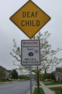Deaf child street sign
