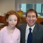 Bethan and her surgeon, Dr. Neil Bulstrode when having Rib Graft ear reconstructive surgery