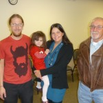 Aaron Simko (left) with Melissa Tumblin (Founder of Ear Community) and her daughter Ally (middle) and Aaron's dad (right)