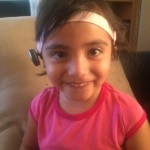 Reyna Guzman-Marroquin, born with unilateral Microtia/Atresia wears her newly donated Cochlear Americas Baha 4 just in time for preschool.  Fitted on June 18th 2015.