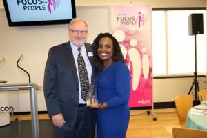 Peer Lauritsen, President of Oticon, pictured with Camilla Gilbert, Ear Community Board Member and winner of the Focus on People Award for outstanding advocacy.
